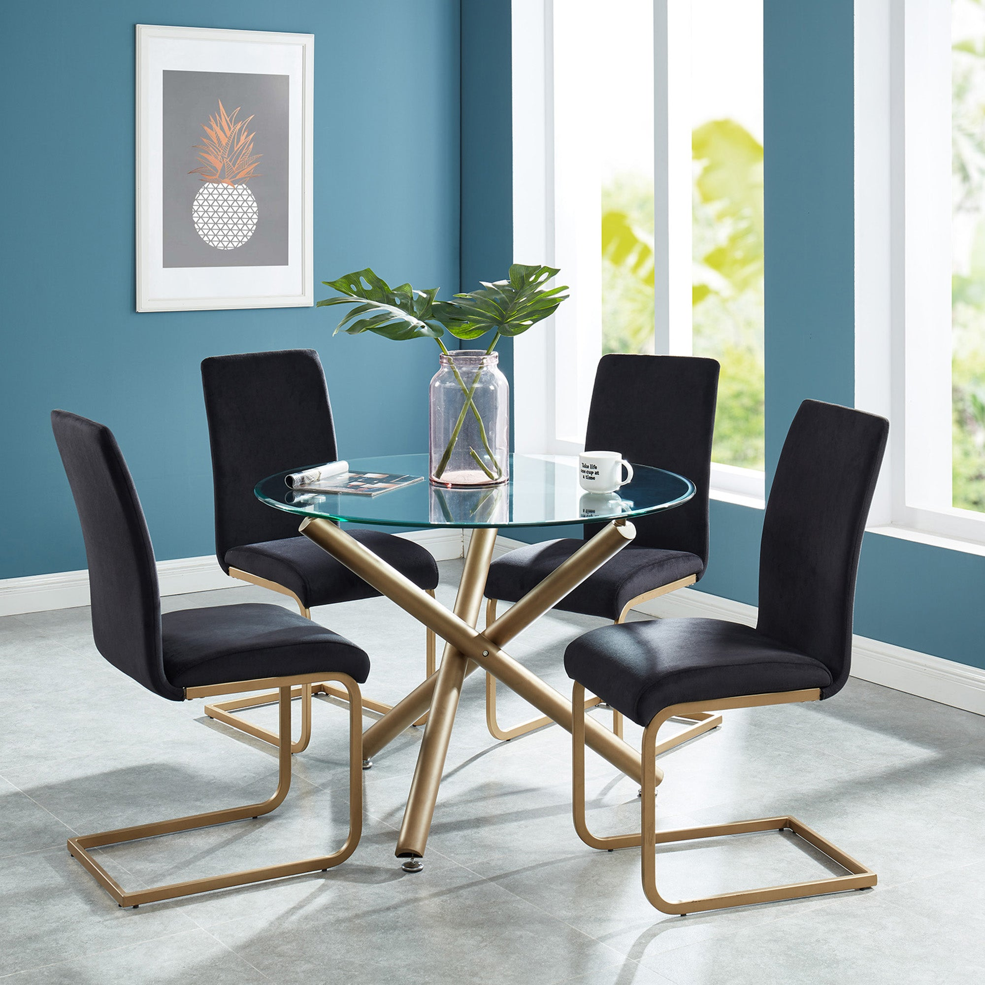Sal / Mute 5 Pc Dining Set (Gold / Black)