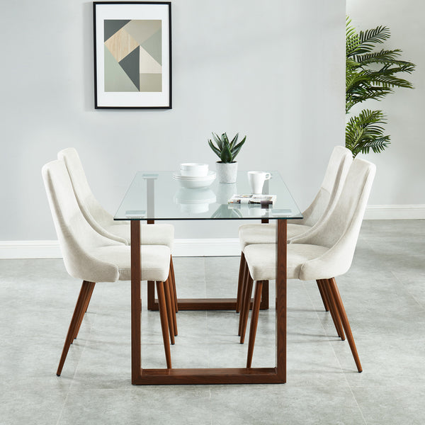 Tosa / Hav 5 Pc Dining Set (Walnut / Beige)