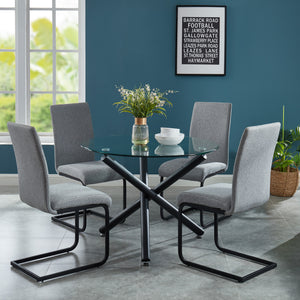 Torn / Coon 5 Pc Dining Set (Black / Light Grey)