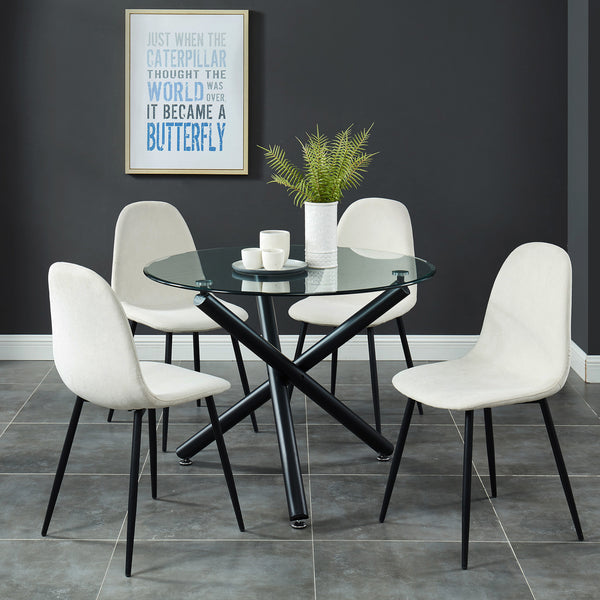 Torn 5 Pc Dining Set (Black / Beige)