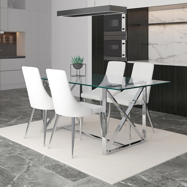 Akita 5 Pc Dining Set (Chrome / White)