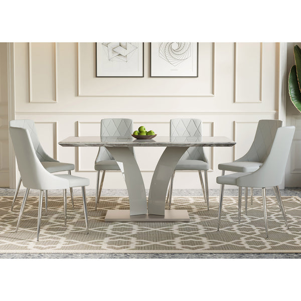 Rid / Cor 7 Pc Dining Set (Grey / Light Grey)