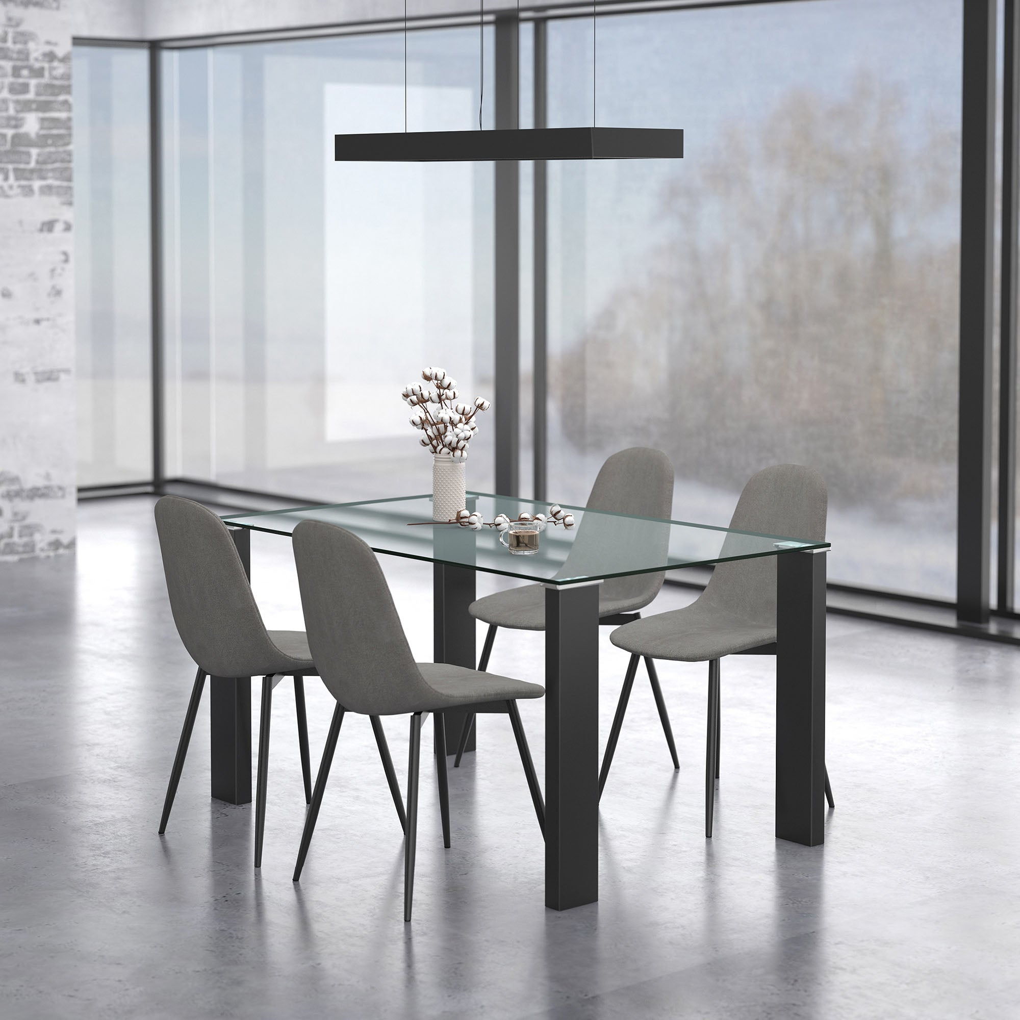Lend 5 Pc Dining Set (Black / Grey)