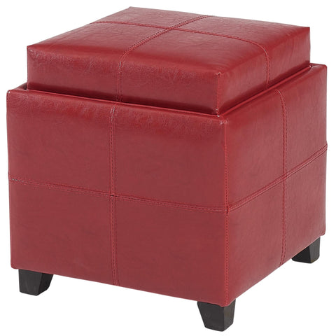 Anton II Storage Ottoman in Red