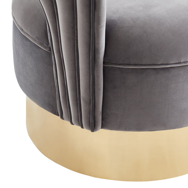 Dolphin Accent Chair (Grey/Gold)