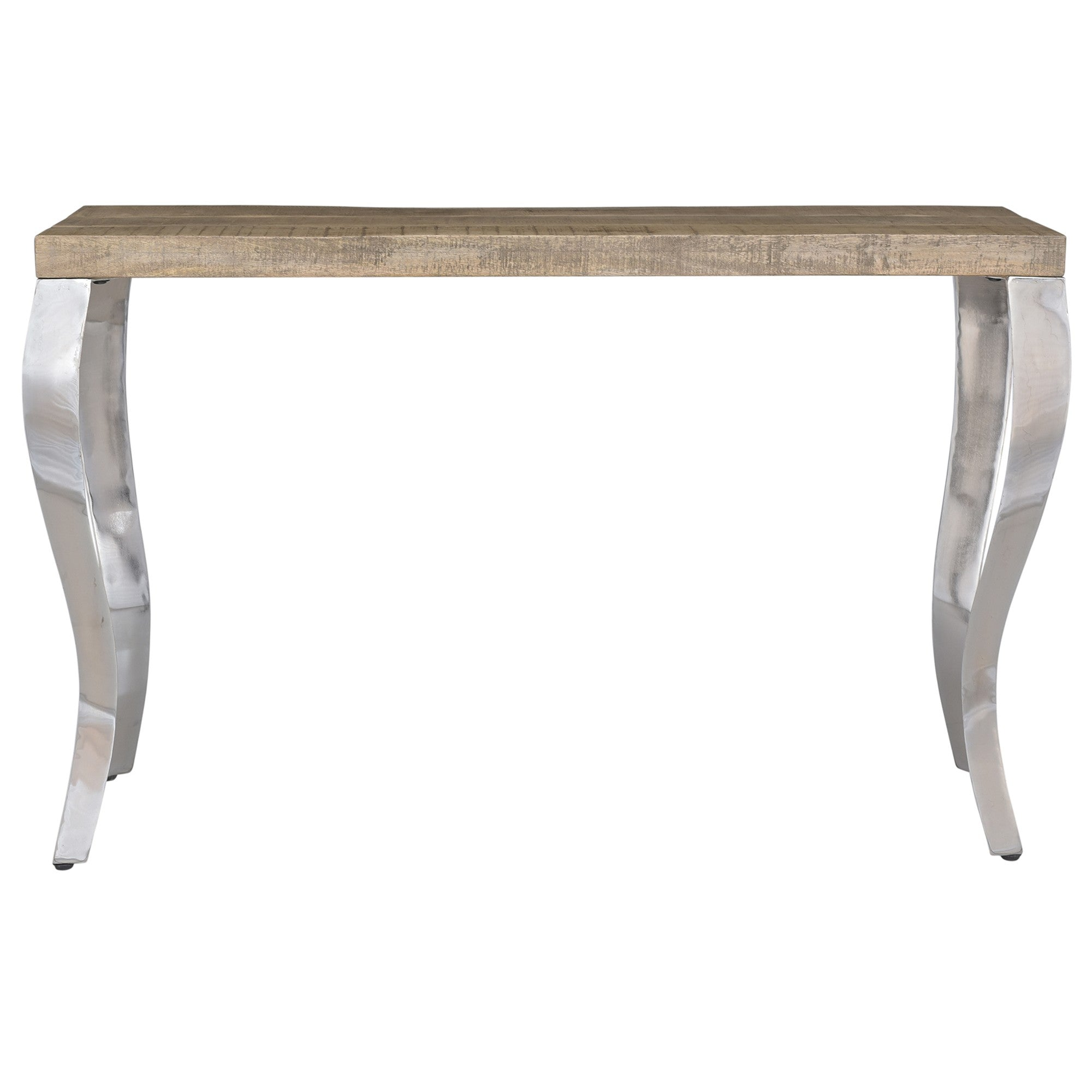 Natalia Console Table in Reclaimed & Chrome