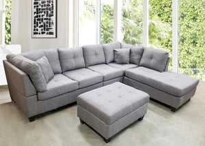 College Sectional Linen (Light Grey)