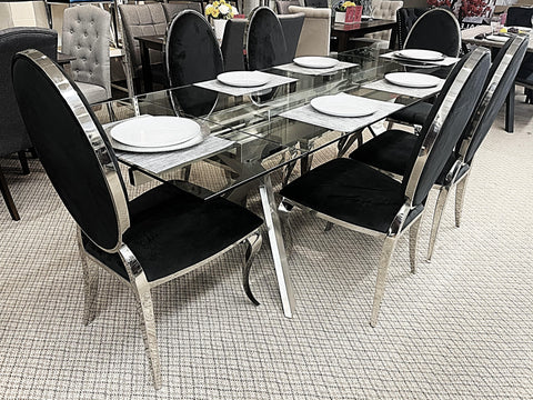Extendable Glass 7pc Bronx Black Dining Set (special)