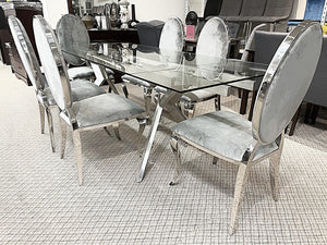 Extendable Glass 7pc Bronx Grey Dining Set (special)