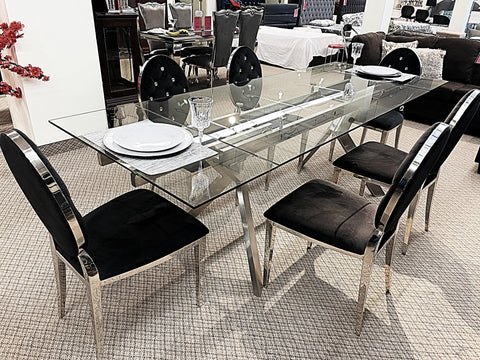 Extendable Glass 7pc Diamond Black Dining Set (special)