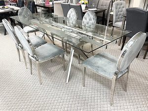 Extendable Glass 7pc Diamond Grey Dining Set (special)