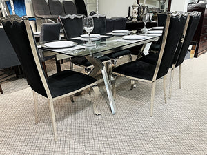 Extendable Glass 7pc Riley Black Dining Set (special)