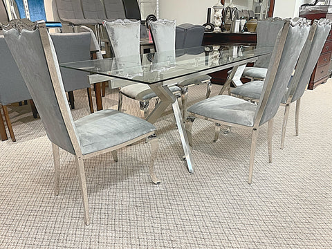 Extendable Glass 7pc Riley Grey Dining Set (special)