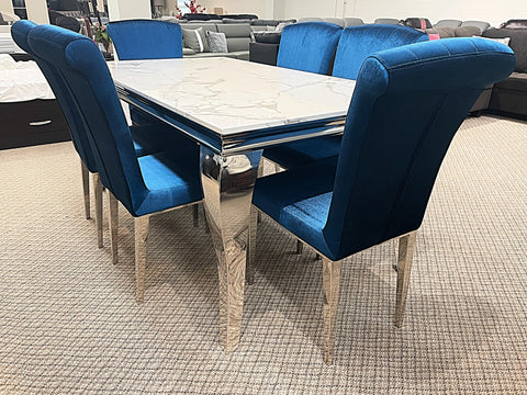 Kennedy Small Marble 7pc Jessica Dining Set (special)