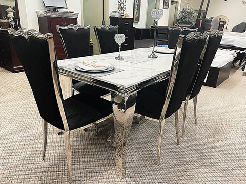 Kennedy Small Marble 7pc Riley Black Dining Set (special)