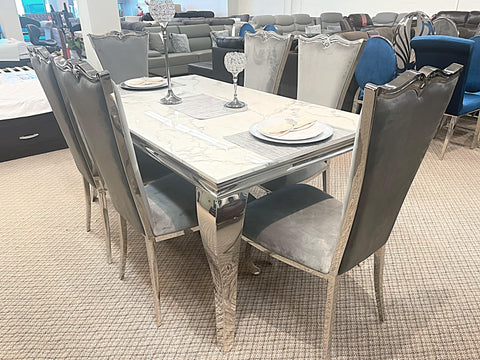 Kennedy Small Marble 7pc Riley Grey Dining Set (special)
