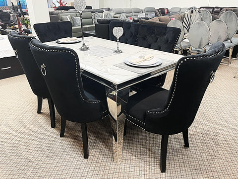 Kennedy Small Marble 7pc Madrid Black Dining Set (special)