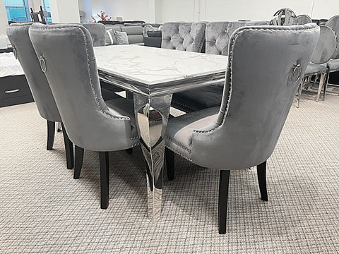 Kennedy Small Marble 7pc Madrid Grey Dining Set (special)