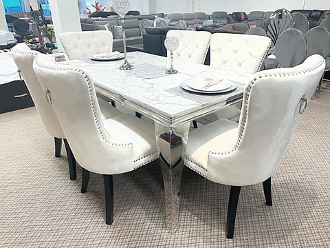 Kennedy Small Marble 7pc Madrid Ivory Dining Set (special)