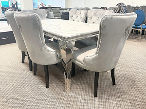 Kennedy Small Marble 7pc Madrid Silver Dining Set (special)