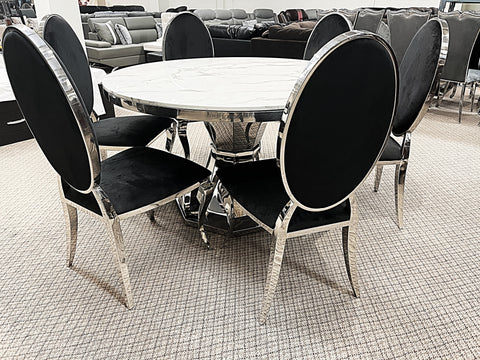 Kennedy Round Marble 7pc Bronx Black Dining Set (special)