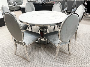Kennedy Round Marble 7pc Bronx Grey Dining Set (special)