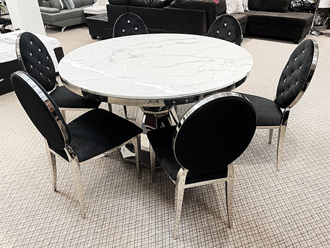 Kennedy Round Marble 7pc Diamond Black Dining Set (special)