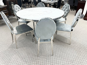 Kennedy Round Marble 7pc Diamond Grey Dining Set (special)
