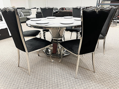 Kennedy Round Marble 7pc Riley Black Dining Set (special)