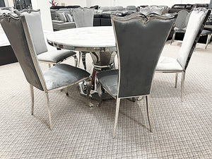 Kennedy Round Marble 7pc Riley Grey Dining Set (special)
