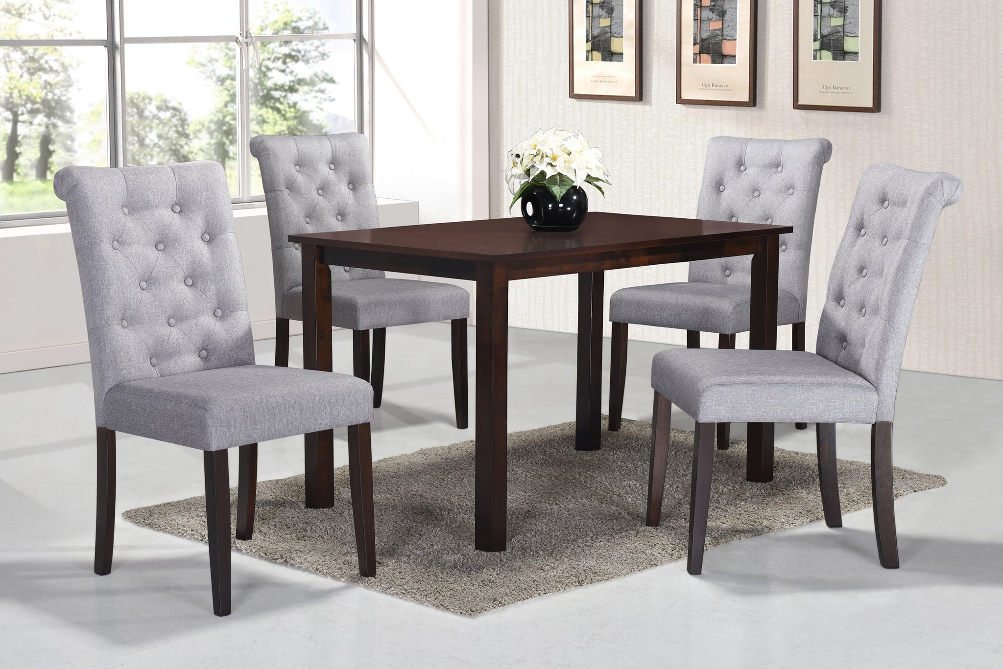 Roxy Light Grey 5 Pc. Dining Set