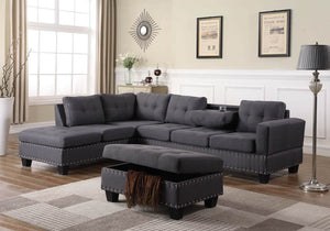 Sama Studs Sectional Sofa In Grey Color