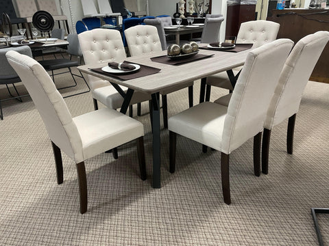 WLL Ingrid Beige 7pc Dining Set (special)