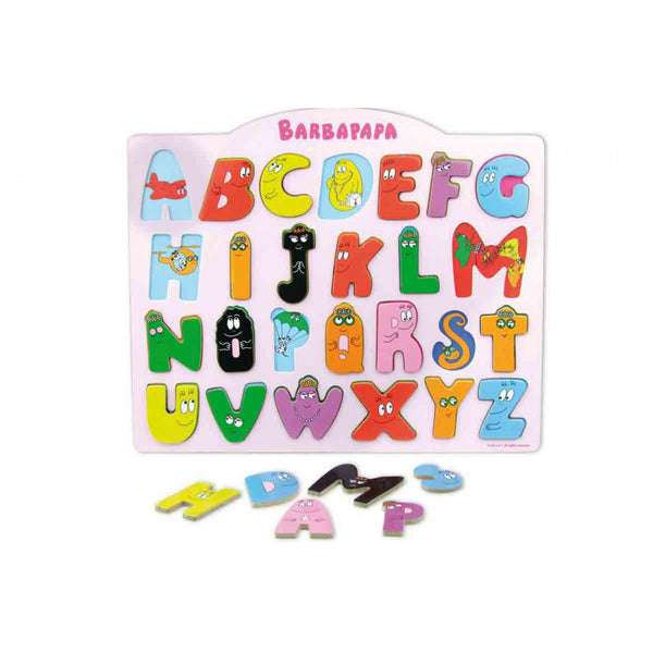 Barbapapa learn the alphabet with this wooden puzzle by Vilac