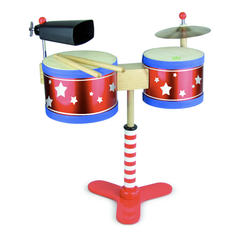 My First Drum Kit by Vilac a wooden toy complete with a cow bell