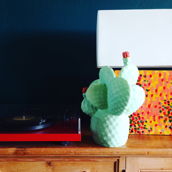 How we are a styling our Cactus Lamp beside our record player, oh yes!
