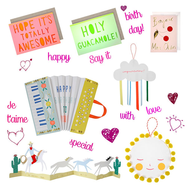 Meri Meri Greetings Cards Edit Bright Colours and full of fun sayings-- Say it in style!