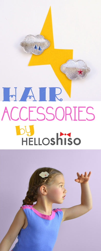 Metallic Cloud Hair clips by Hellos Shiso at Little Citizens Boutique