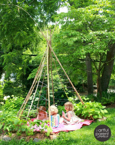 How to make a Bean Pole Teepee instructions at Artful Parent