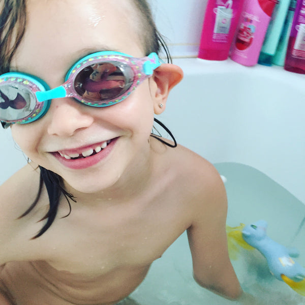 Ruby testing Bling2o Goggles in her bathtub