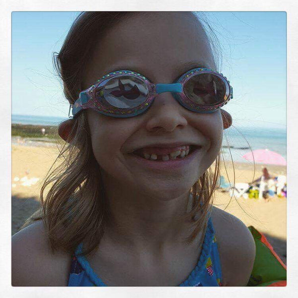 Ruby wearing bling2o mermaid swimming goggles for sale at Little Citizens Boutique