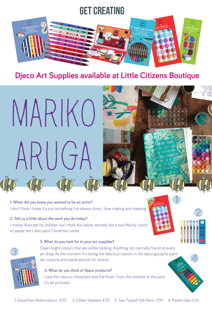 We interview Mariko Aruga the illustrator artist who loves Djeco Art Supplies