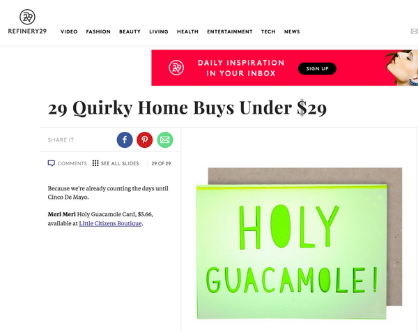 Refinery29 features Little Citizens Boutique greeting cards.