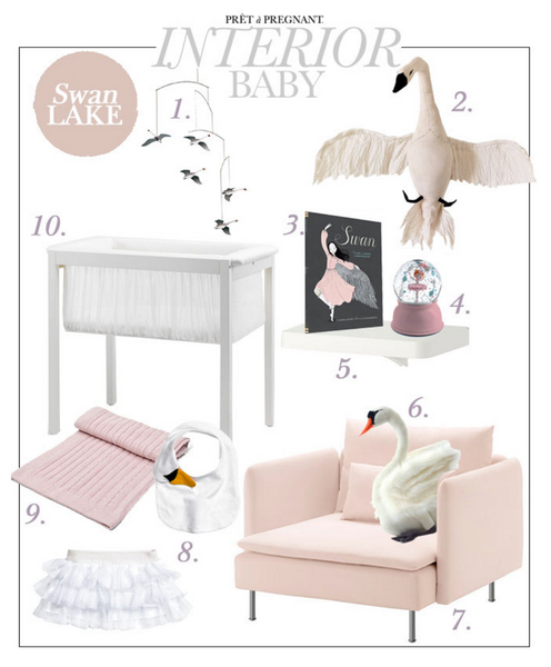 Beautiful collection of Ballerina inspired interiors, accessories and furniture for baby room.