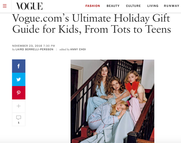 Vogue magazine includes Little Citizens Boutique in their Ultimate Gift Guide for Kids