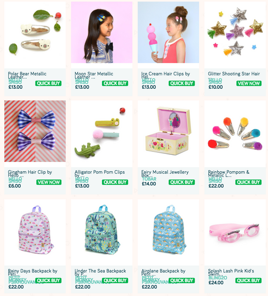 Children's accessories like hair clips, necklaces, hair bands, tattoos and backpacks at Little Citizens Botique.