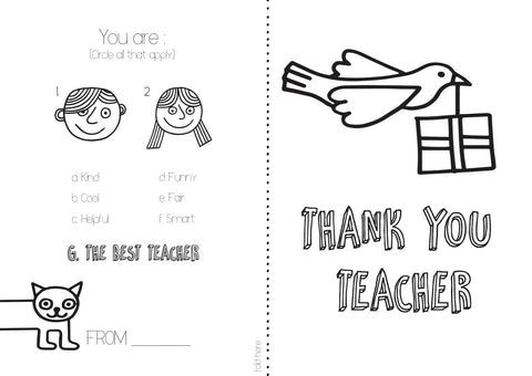 Free download of a Thank You card for your teacher
