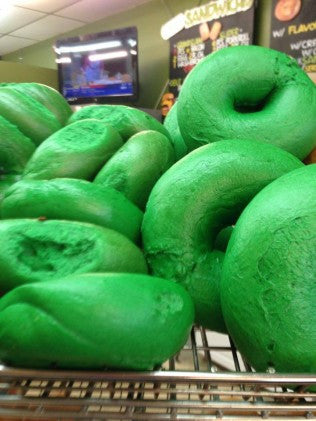 Green Bagels at Kupels Bagels in Boston