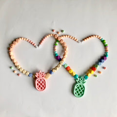 Colorful Silicone Beaded Teething Necklace