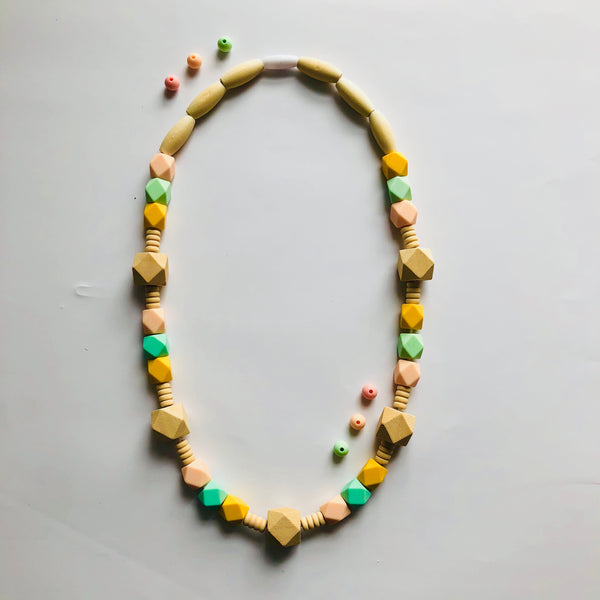 Colorful Wooden and Silicone Beaded Teething Necklace